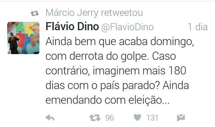 Através do tuiter, Flávio Dino tenta justificar sua ida à Brasilia para cooptar deputados...